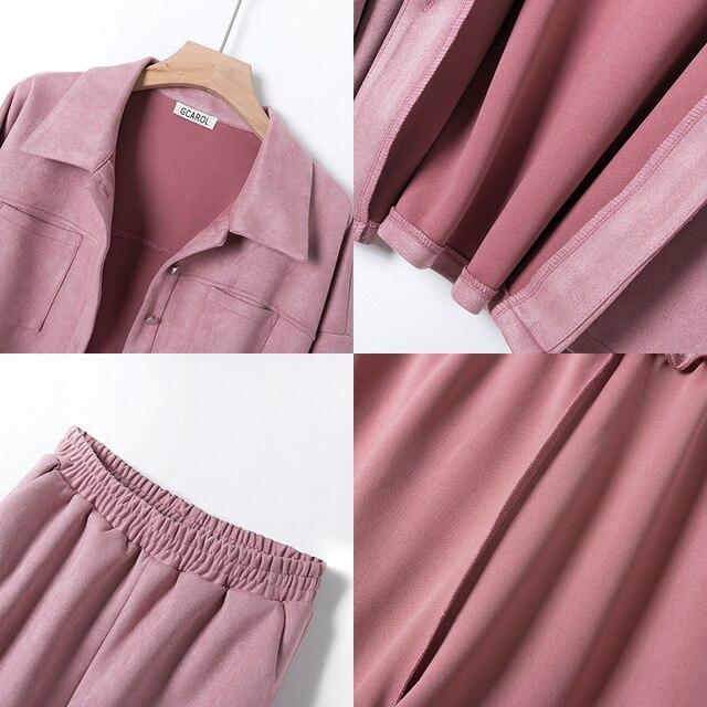 GCAROL Women tracksuits Velvet Jacket And Pants Drop Shoulder Oversized Coat Single-Breasted Elastic Waist Overalls Cargo M,L 5