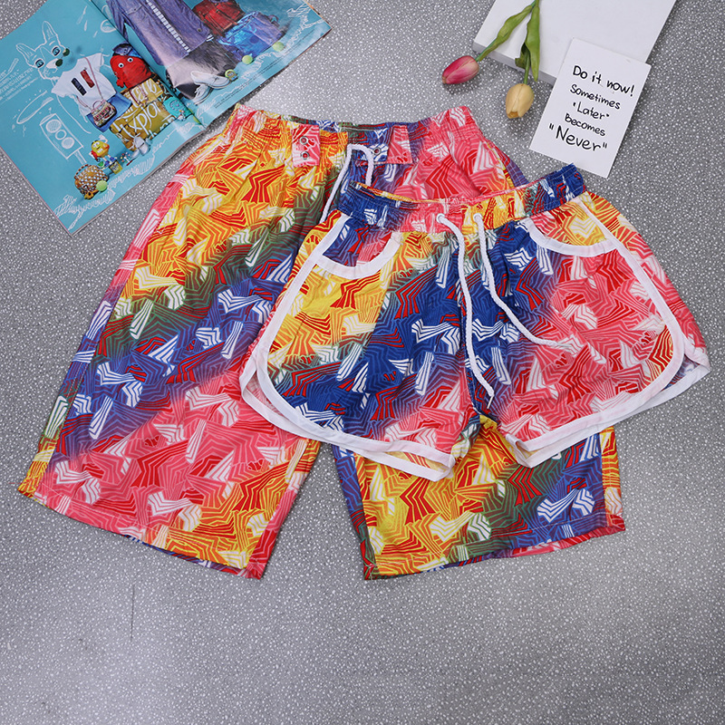 Couple Beach Surf Board Shorts Men Summer Quick Dry Water Sports Shorts Elastic Waist Floral Plant Prited Swim Shorts Male Women