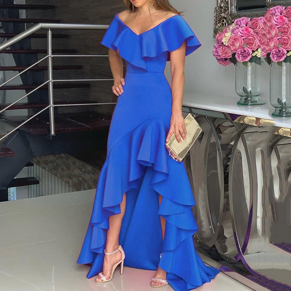 Blue Ruffle Party Dress Women Sexy Off Shoulder Irregular Falbala Designer Elegant Female Floor Length Evening Maxi Long Dresses