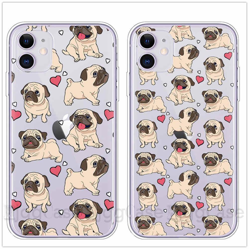 สำหรับ iPhone 6 น่ารักการ์ตูนสัตว์สุนัข pug TPU ซิลิโคนสำหรับ iPhone 11 Pro XS MAX X XR 6S 7 8 PLUS 5S SE ปกหลัง