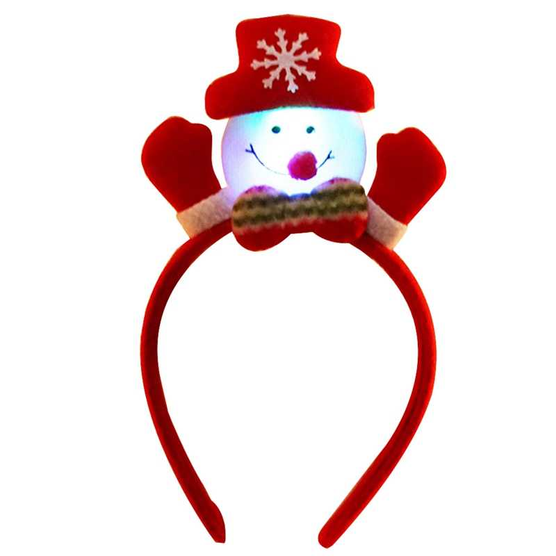 Lovely Christmas Santa Reindeer Snowman Bear LED Light Headband Hair Band Lightening Head Xmas Decoration New Year Gift