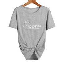 Studio Ghibli TShirt Donne Magliette e camicette Harajuku Giapponese Del Fumetto T shirt Carino Graphic Tee shirt Magliette e camicette Nero Bianco Taglia S-XXL