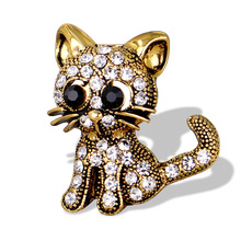 Trendy Girl Brooch Vintage Rhinestone Cat Brooches Pins for Women Men Fashion Cute Package Clothe Corsage Jewelry Accessories
