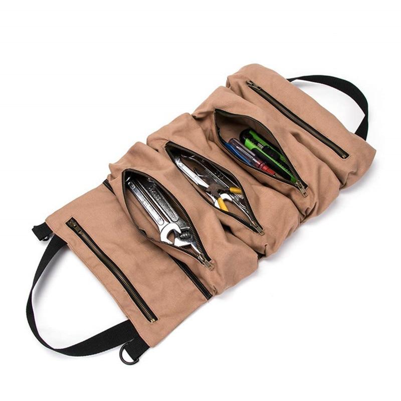 Car Anti Kick Mat Car Seat Back Hardware Storage Tool Canvas Roll Plier Screwdriver Spanner Bag Bolsa De Coche Jy3