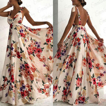 Fashion Summer Women Boho Long Maxi Dress Backless Sleeveless V Neck Flower Evening Party Beach Dresses Sundress