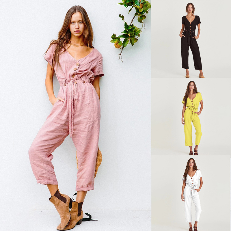New Casual Loose V-Neck Short Sleeve Jumpsuits For Women Summer 2020 Fashion With Sashes Solid Color Nine Pants Jumpsuits Ladies