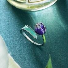 Специальный бренд модный цветок из эмали кольца фиолетовый Тюльпан конец Открытые Кольца размер регулируемые Ювелирные изделия Подарки для женщин S1720R