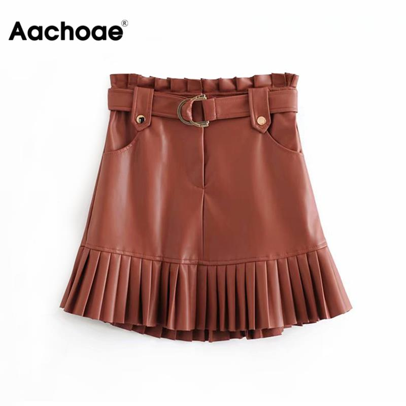 Aachoae Women Chic PU Leather Pleated Skirt 2020 Ruffles Tie Belt Waist Pocket Skirt Zipper Ladies Elegnt Mini Skirts Jupe Femme