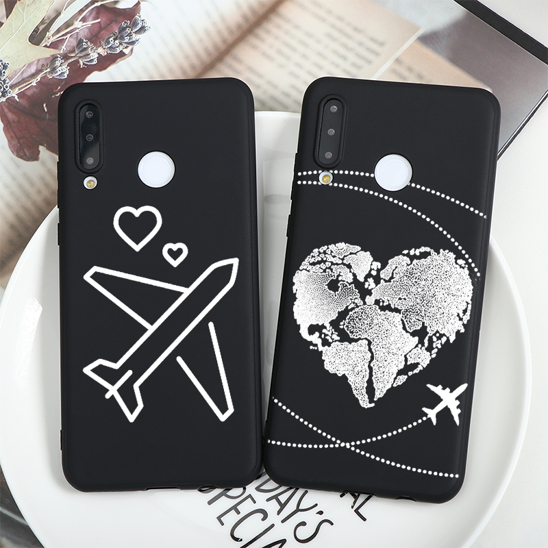 World Map Travel Airplane Capa For Huawei Mate Honor 20 10 10I 8X 9X 8A 9 P30 P20 P40 Lite Pro Y6 Y7 Y9 P Smart 2019 Z Soft Case