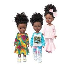 Muñeca de bebé Reborn negra afroamericana de 14 pulgadas, muñeco de vinilo completo de silicona, Pelo Rizado Afro realista, juguete de baño para niña, regalos