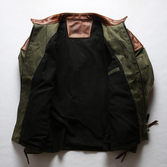 1937 Read Description! Asian size Army style genuine cow leather canvas coat cowhide leather wax water proof jacket