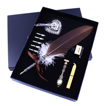 10 Pcs Feather Quill Pen Set Dip Pen Writing Calligraphy Pen Kit with Ink Bottle Nibs in Gift Box new nature feather calligraphy handwriting dip pen set with 2 wax seals 1 stamper 1 ink 5 nibs