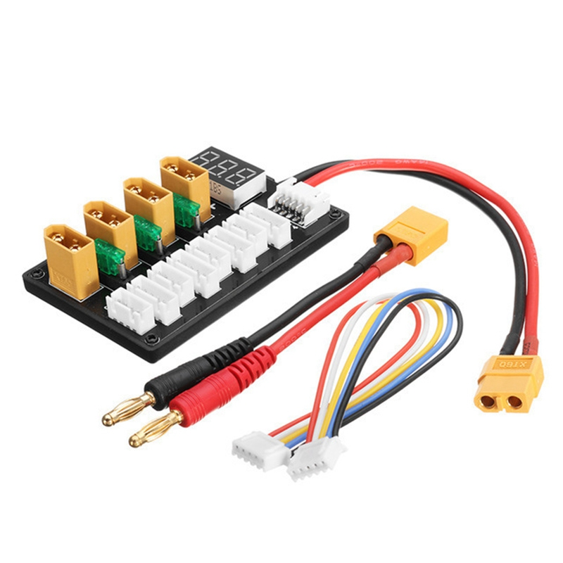 4CH Parallel Charging Board XT60 Banana Plug Connector for ISDT D2 Q6 SC 608 SC 620 Imax B6 Charger LiPo Battery Charging|Parts & Accessories| |  - title=