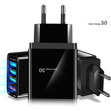 цена на usb charger Portable Quick Charge 3.0 4-USB Ports 3.1A Travel Smart Adapter For iPhone xiao mi Huawei US/EU/UK Plug Fast Charger