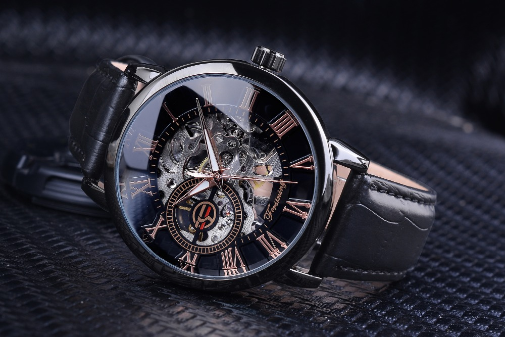 H793c7845bba841969876bdf526d77fdeU Forsining 3d Logo Design Hollow Engraving Black Gold Case Leather Skeleton Mechanical Watches Men Luxury Brand Heren Horloge