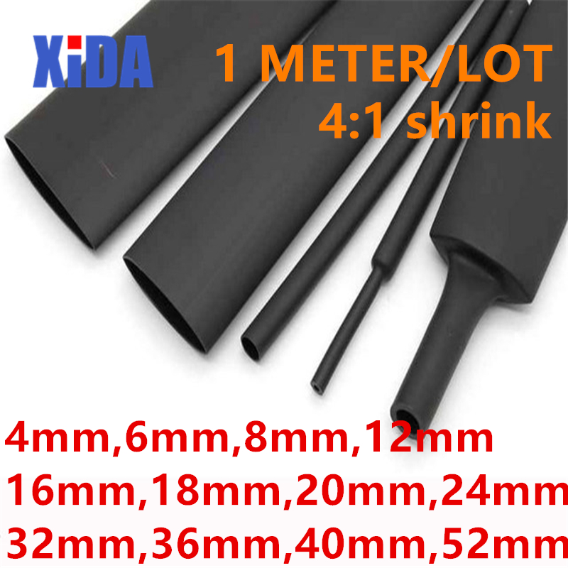 """12mm Black 50 Ft 1//2/"""" Dual-Wall Adhesive Lined Heat Shrink Tubing 3:1 Ratio"""