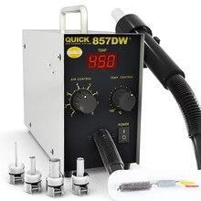 מהיר 857DW + הלחמה תחנת 580W מתכוונן אוויר חם אקדח תחנת עם דוד סליל רוח אוויר אקדח SMD חם עיבוד חוזר תחנה