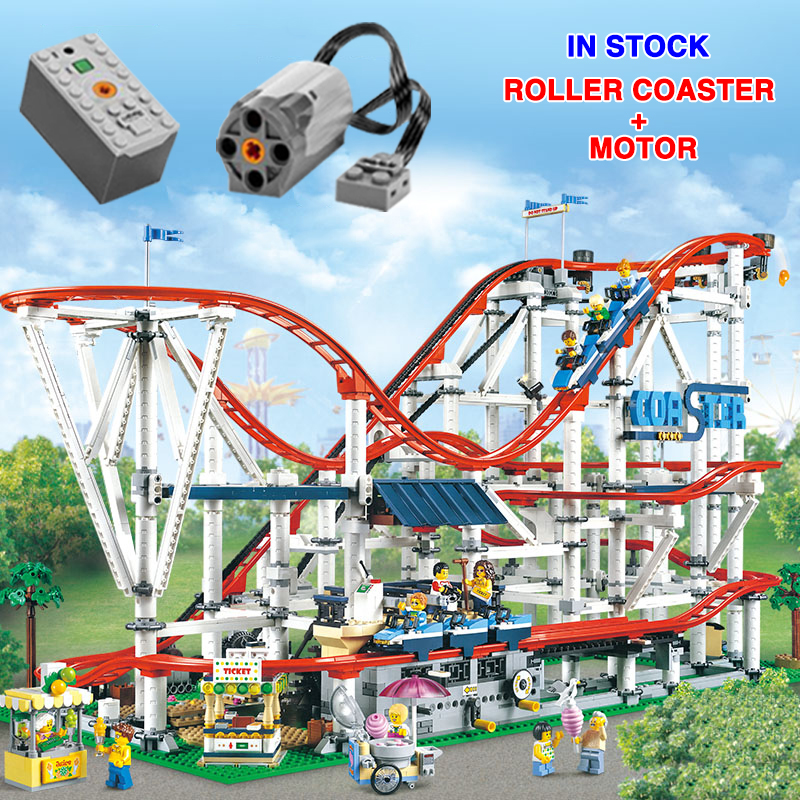 18003 With Motor Creator Expert Roller Coaster Technic Set Buidling Blocks Bricks Compatible Lepinglys 10261Birthday Gifts Toys
