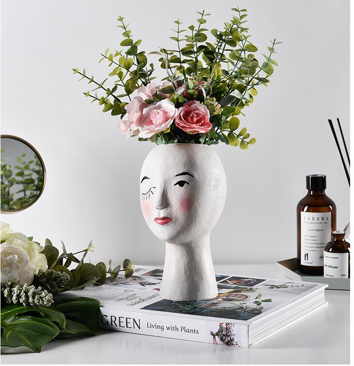 Flower Pot Art Portrait Sculpture Flower Pot Green Plant Flower Pot