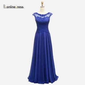 Bbonlindress Royal Blue Evening Dress Lace Pleat Chiffon A Line Long Prom Dresses Elegant Cheap Formal Gown vestido de festa