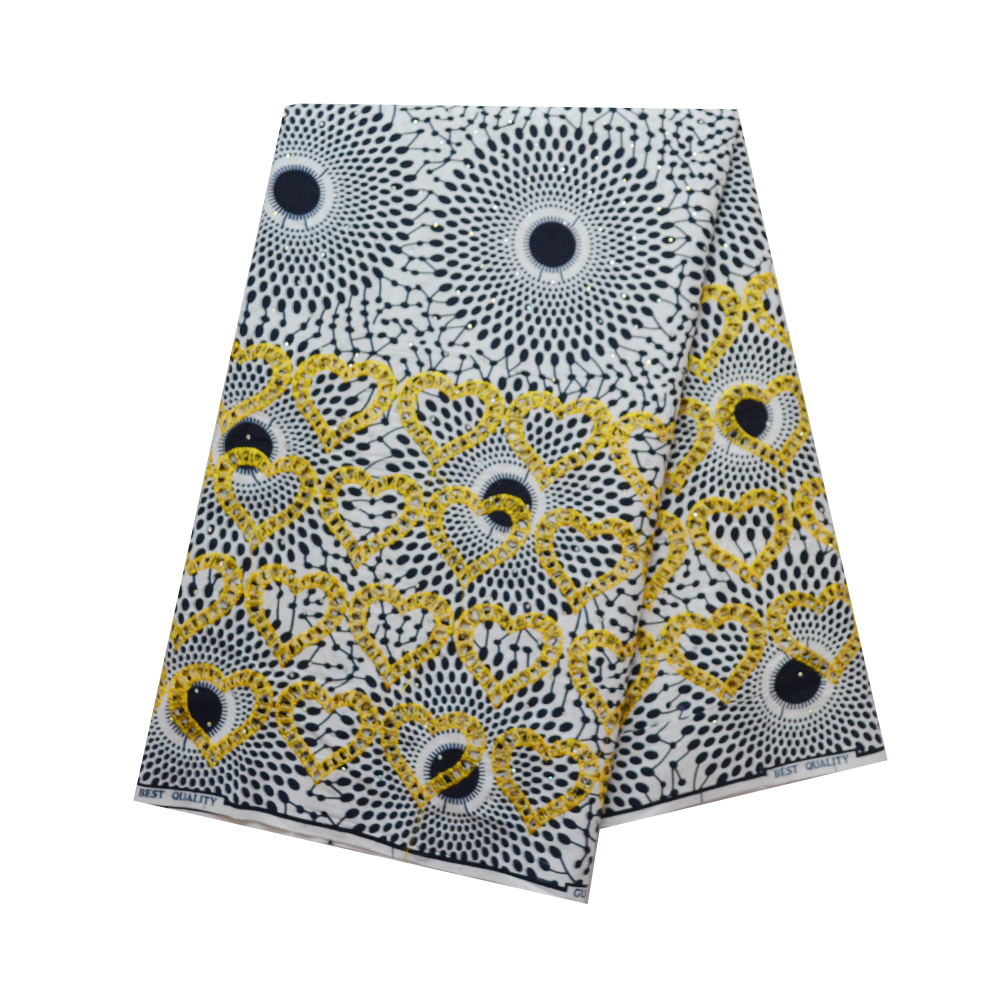 African Super Cotton Wax With Rhinestones And Embroidery Veritable Real Wax Fabric High Quality Ankara Wax African Print
