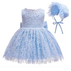 Hetiso/белые и синие кружевные платья для маленьких девочек со шляпой и бусинами; одежда для крещения для малышей; летнее вечерние платье для м...