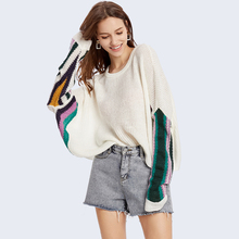 2019 Fashion  Women's Loose Hooded O-Neck Sweater Patchwork Long Batwing  Sleeve  Sweater Knitted Pullover Contrast Color  Top contrast panel batwing sleeve tee