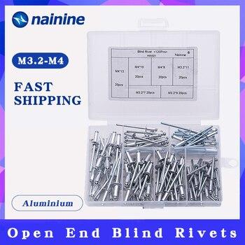 120 teile/satz M3.2 * 7/9/11 M4 * 8/10/13 GB12618 Aluminium Blind Nieten nagel Dekoration Pop Nieten Für Möbel Sortiment Kit HW021