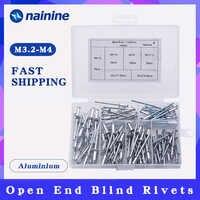 120Pcs/set M3.2*7/9/11 M4*8/10/13 GB12618 Aluminium Blind Rivets Nail Decoration Pop Rivets For Furniture Assortment Kit HW021