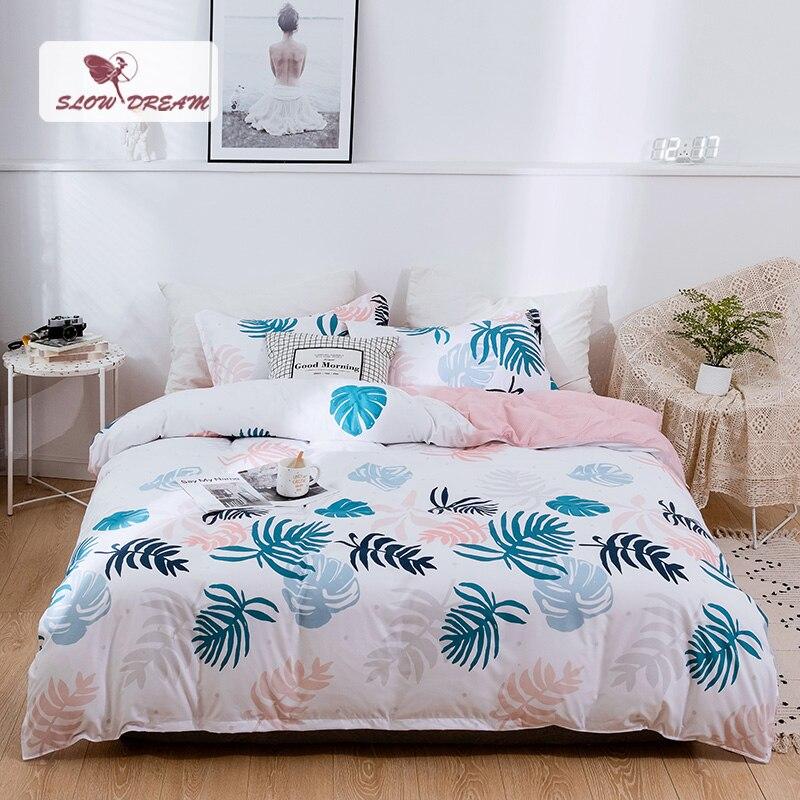 SlowDream Bedding Set Nordic Comforter Cover Bedspread Double Bed Sheet Set Duvet Cover Queen King Adult Leaf Bed Linens Set