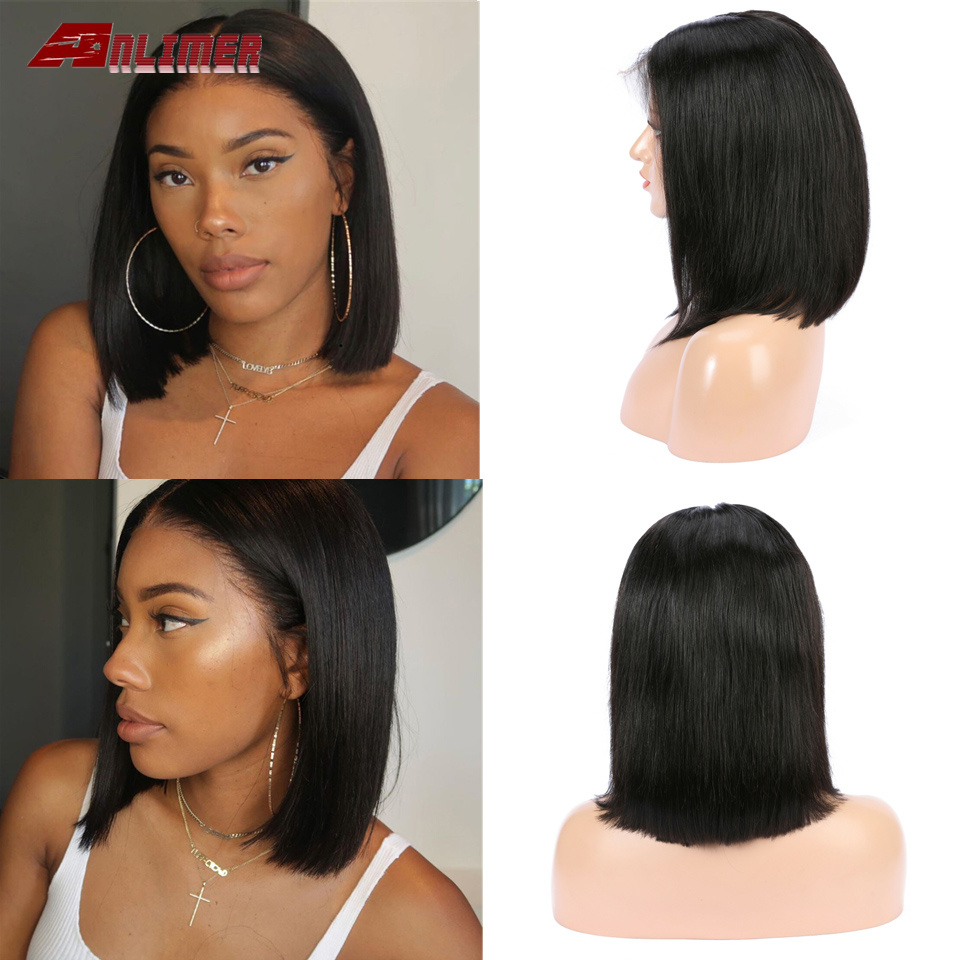 Brazilian Wig Straight Short Bob Lace Front Wigs Lace Front Human Hair Wigs Pre-plucked With Baby Hair Non-Remy