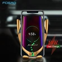 אינפרא אדום חיישן 10W אלחוטי לרכב מטען Qi טעינה מהירה אוטומטי הידוק טלפון מחזיק עבור iPhone 11 XS XR X 8 סמסונג S10 S9