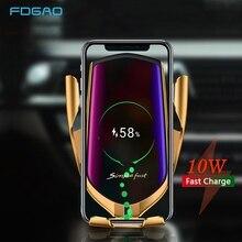 Kızılötesi sensör 10W kablosuz araç şarj Qi hızlı şarj otomatik sıkma telefon tutucu iPhone 11 XS XR X 8 Samsung S10 S9