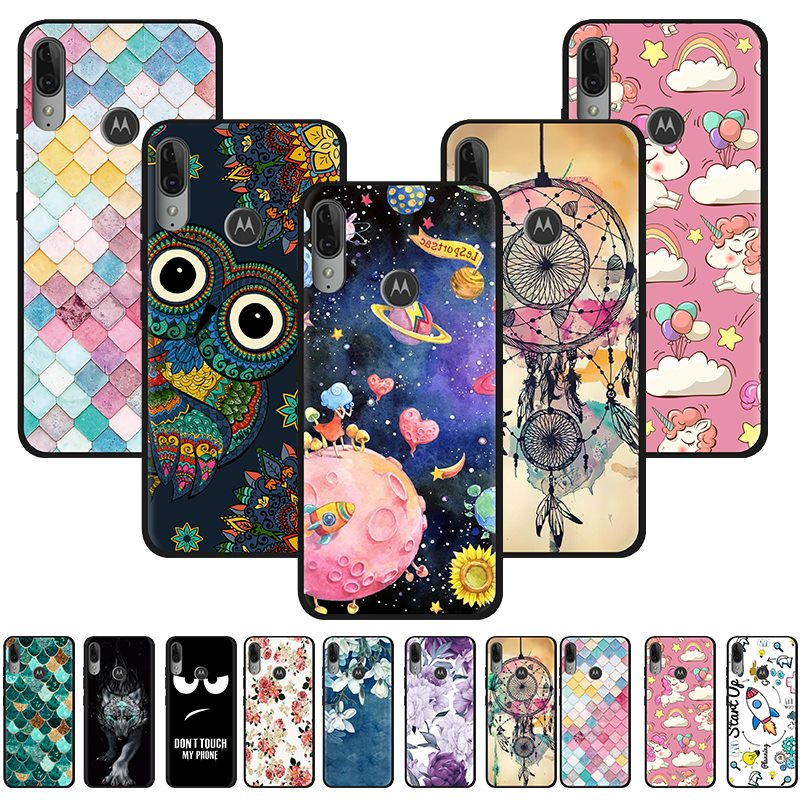 Anti-Knock Back Phone Cover For MOTO E6 Plus Colorful Phone Cover Painted TPU Design Silicone Back Fashionable Cover