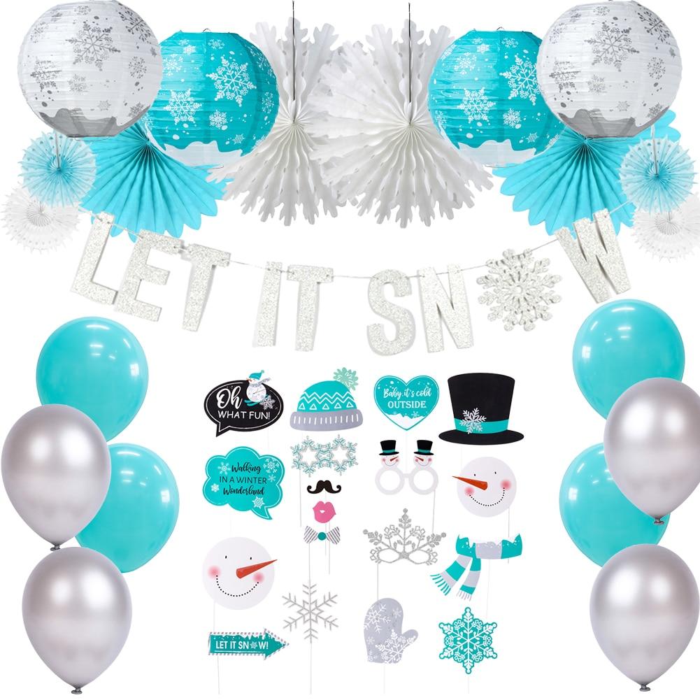 SUNBEAUTY Snowflake Happy Birthday Banner Glitter Silver Winter Wonderland Party Baby Shower Christmas Decoration Mix-1