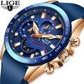2019 LIGE новые мужские золотые часы Топ бренд Роскошные бизнес часы мужские спортивные кварцевые часы с датой водонепроницаемые часы Relogio ...