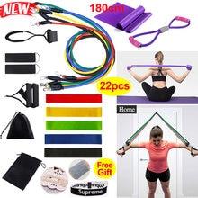 22 stücke Widerstand Bands Set Von Übung Bands für Sport Elastische Übung Workout Pull Seil Gym Bands Tragbare Fitness Ausrüstung