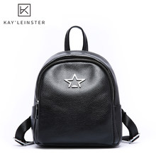 100% Genuine Leather Women Backpack Star Decoration Simple Young Lady Daily Bag School Bags for teengers Fashion mochila mujer(China)