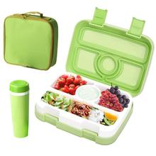 BPA-free Childrens Lunch Box for Kids Food Container Microwave Trays w/ 4 Compartments Leak-proof Bento Set