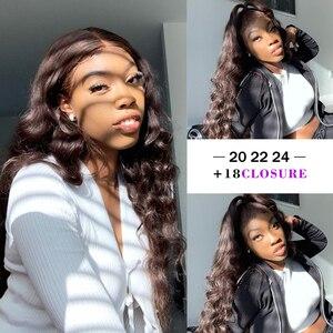 Image 4 - Свободные волнистые пучки с застежкой 4*4 6*6, бразильские плотные волосы с застежкой 180%, пупряди с париком на 4*4