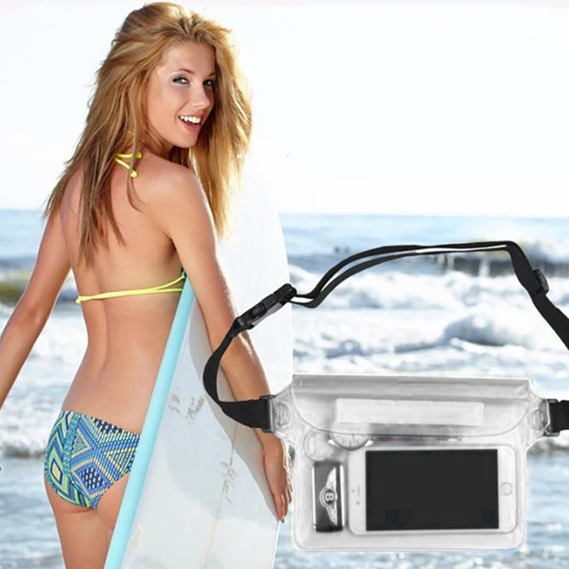 Underwater Mobile Phone Bag Protective Cover Waterproof Swimming Bag Ski Rafting Diving Shoulder Waist Bag Beach Sports Bag