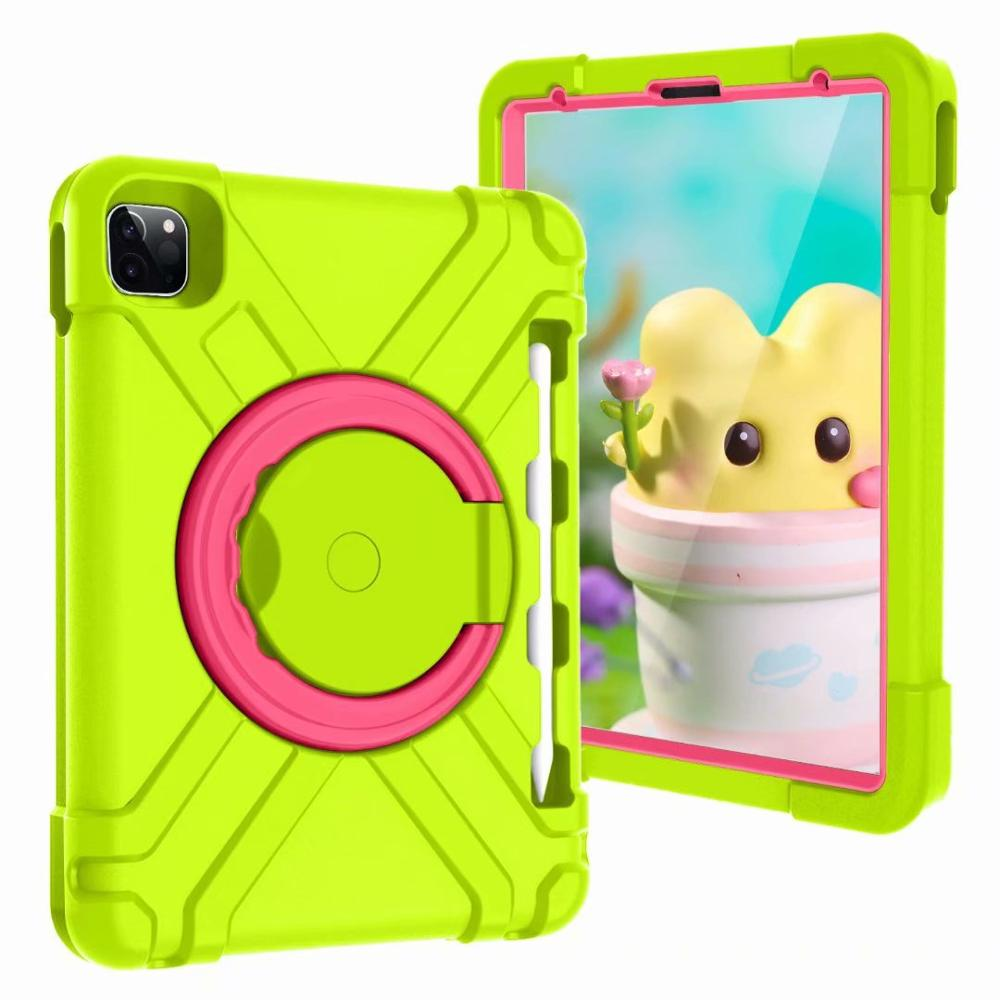 Green-Rose Purple High Duty for iPad Pro 11 2018 2020 Case Kids A1980 A2230 Shockproof EVA 360 Pencil