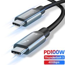 Thunderbolt 3 Cable 100W 5A/20V USB 3.1 Thunderbolt 3 Fast PD Cable for Macbook Pro 40Gbps 5K/60Hz USB Type C Charger Data Cable