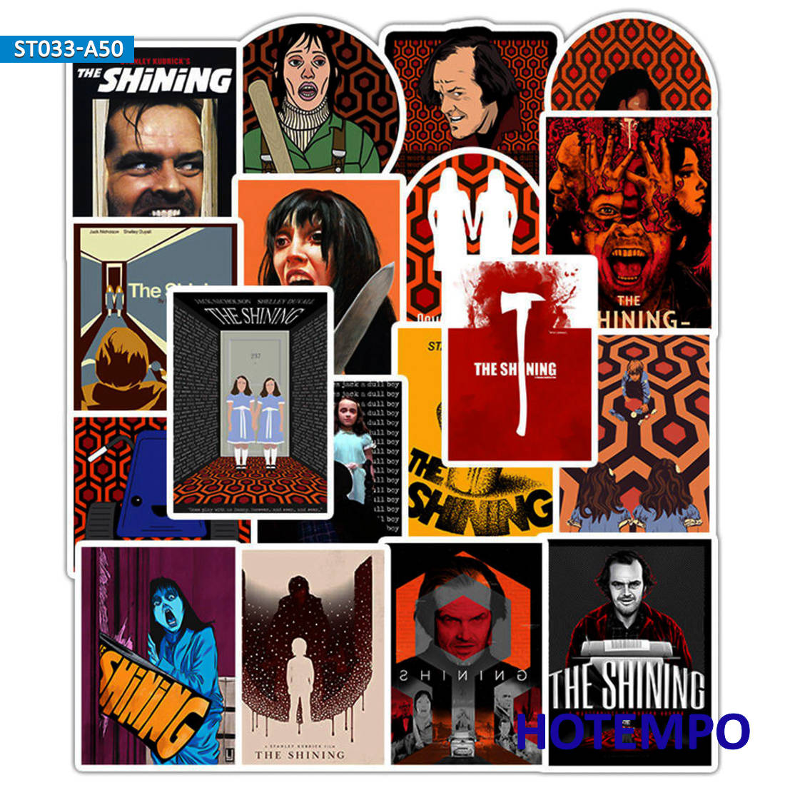 50pcs Horror Movie The Shining Stickers Ghost Hotel For DIY Mobile Phone Laptop Luggage Case Skateboard Bike Anime Decal Sticker