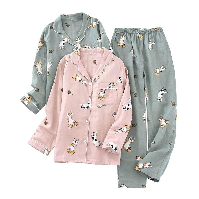 2020 Spring New Ladies Pajamas Set Cute Kitten Printed Comfort Gauze Cotton Full Sleeve Clothes+Pants Women 2pcs Loose Homewear