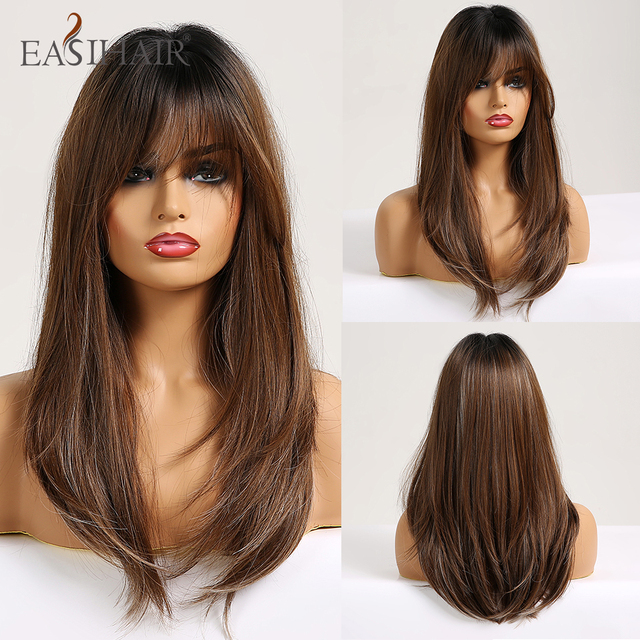 EASIHAIR Long Straight Wigs with Bangs Black to Brown Ombre Synthetic Wigs for Women Daily Natural Hair Wigs Heat Resistant