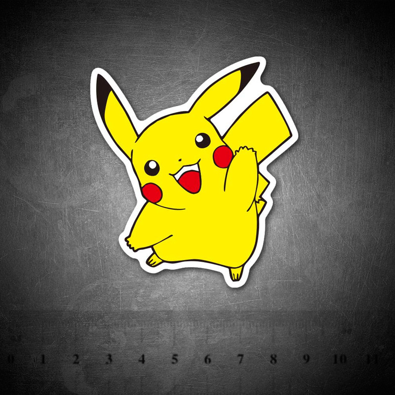 Cartoon Anime Cute Pikachu Stickers For Laptop Home Decor Car Styling Decal Fridge Doodle Waterproof Phone Kids Sticker