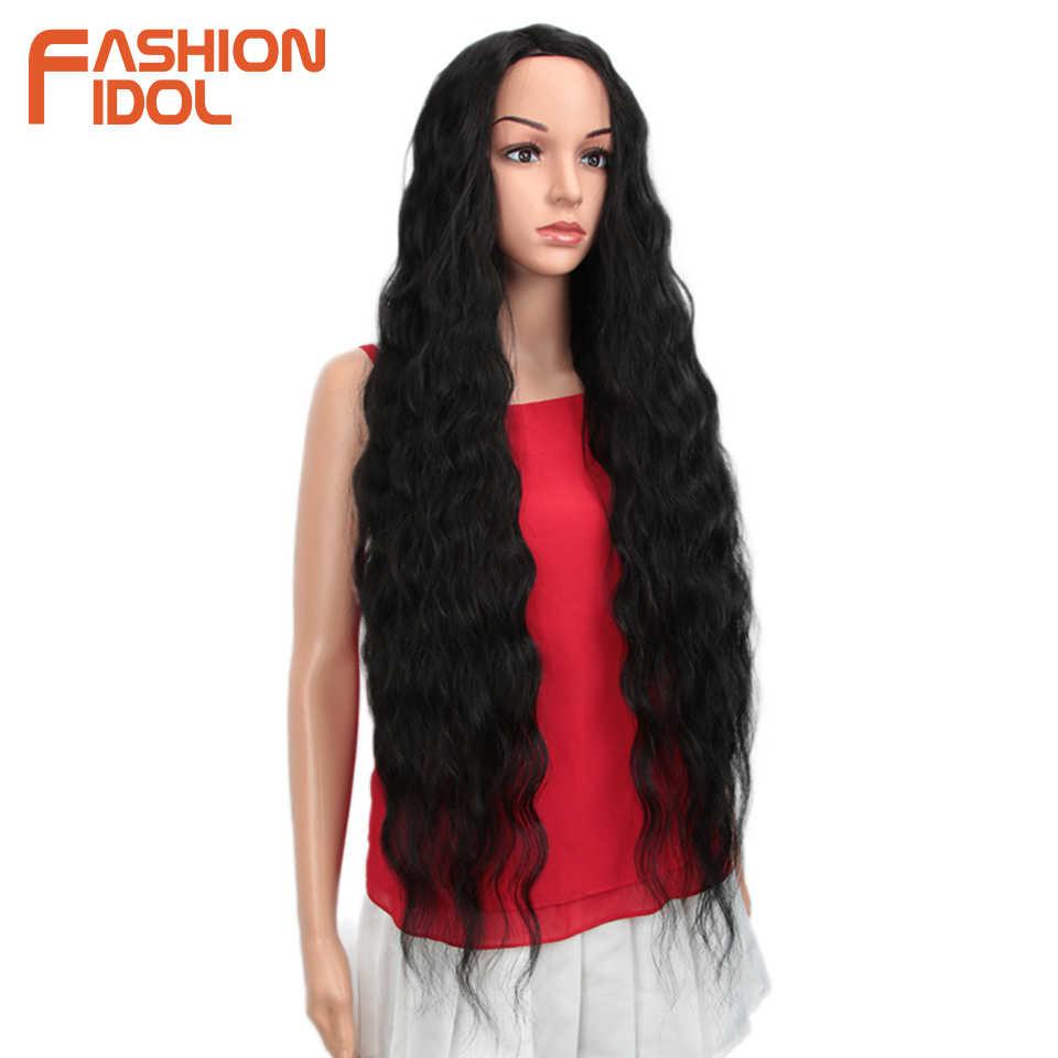 Moda IDOL peluca sintética onda suelta negro 38 pulgadas Ombre Rubio onda profunda pelucas sintéticas súper largas onduladas para las mujeres negras
