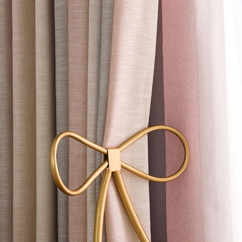 Modern Curtains for Living Dining Room Bedroom Simple Gray Powder GradientCotton and Linen Blended Curtain Product Customization