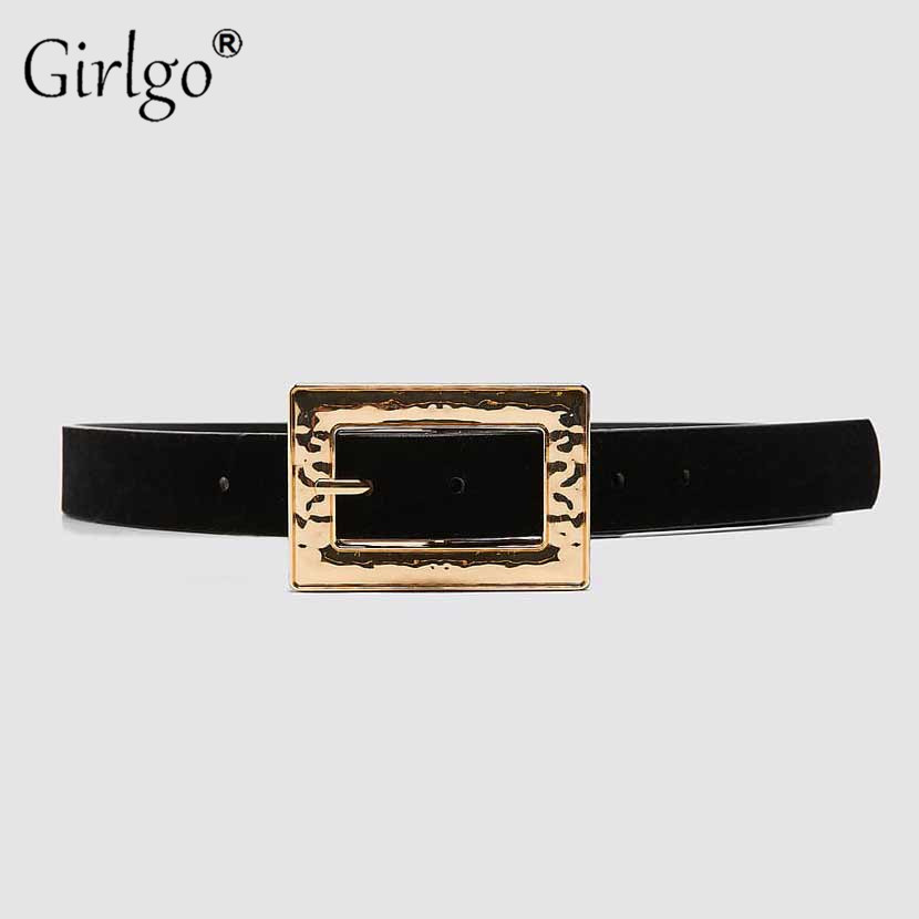 Girlgo Punk Buckle Metal Maxi Square Belt For Women Gold Color Vintage Geometric Waist Chain Coat Accessories Jewelry Party Hot